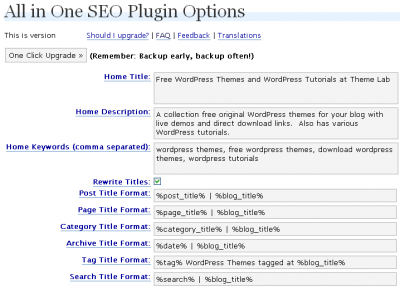 All in One SEO Configuration on Theme Lab