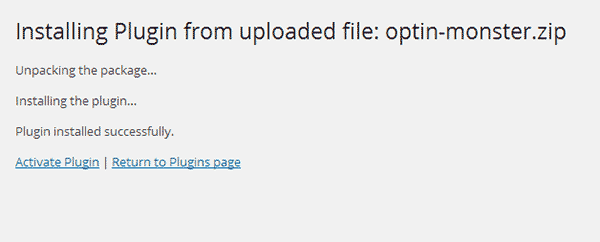 Plugin installed from a zip file