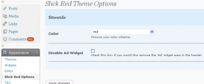 Slick Red Theme Options