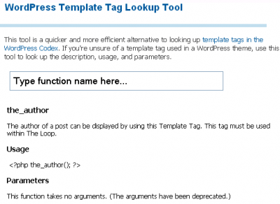 WordPress Template Tag Lookup Tool