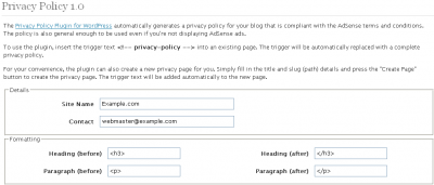 WordPress Privacy Policy Options