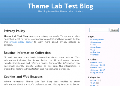 WordPress Privacy Policy Page