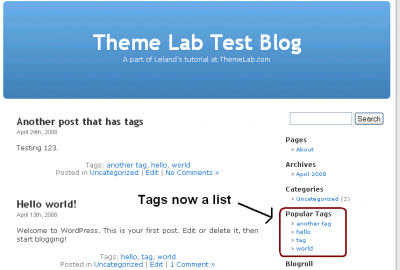WordPress Tag List