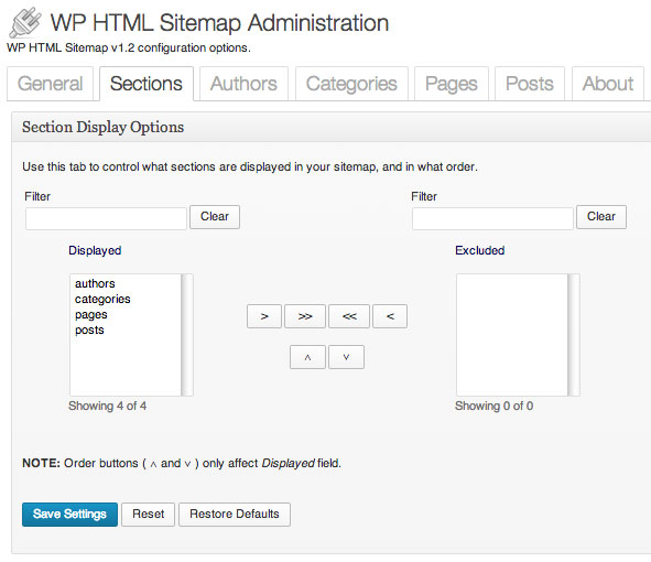 Section Settings of WP HTML Sitemap